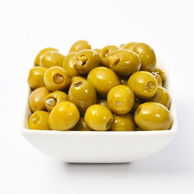 Anchovy Stuffed Colossal Olives in a blend of sunflower oil and extra virgin Olive oil