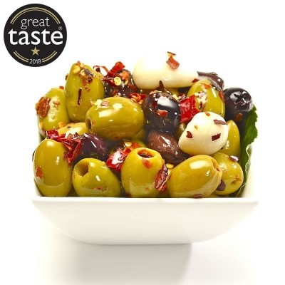Award winning pitted olives in our own Awfully Chilli marinade