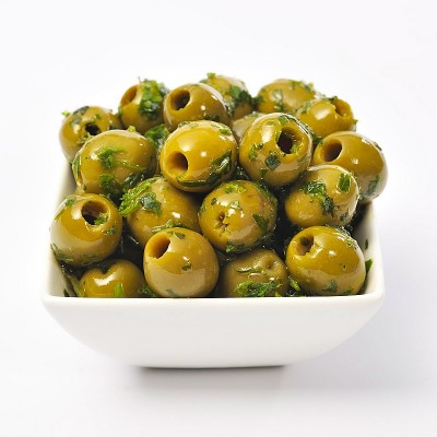 Basil & Garlic Pitted Olives